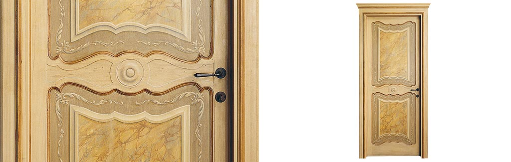 Porta in legno massello decorata a mano: porte per interni made in Italy